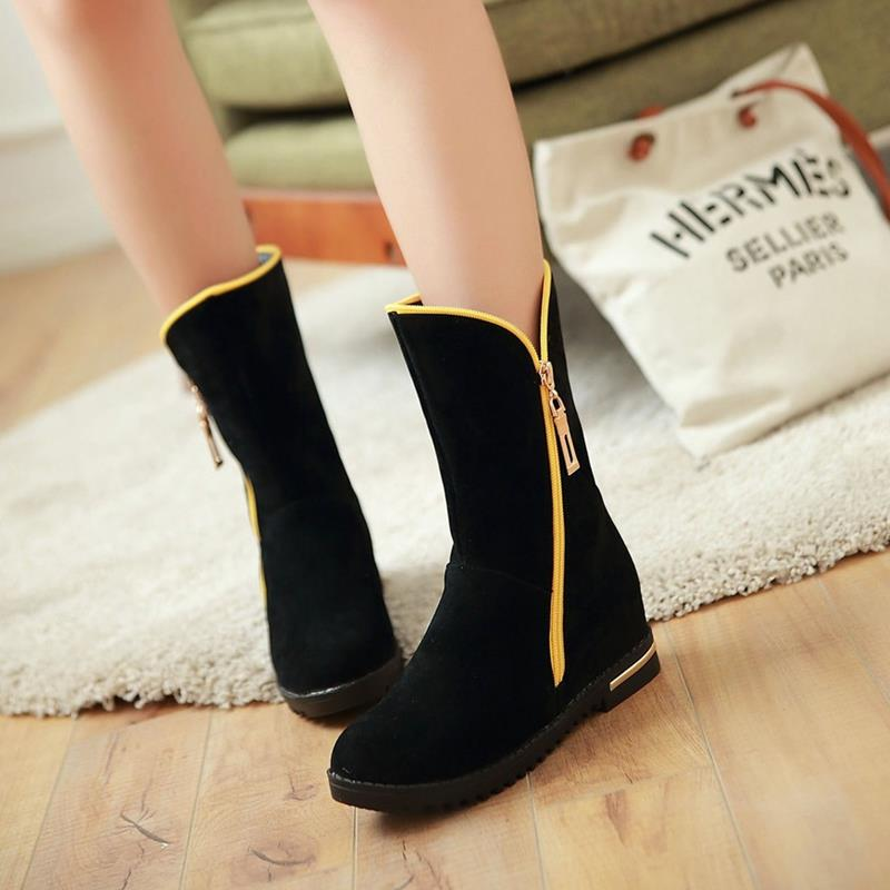 Casual Zipper Round Toe Inner High Shoes For Ladies Women Winter and Autumn Solid Ridding Boots Half Knee Boots 2016
