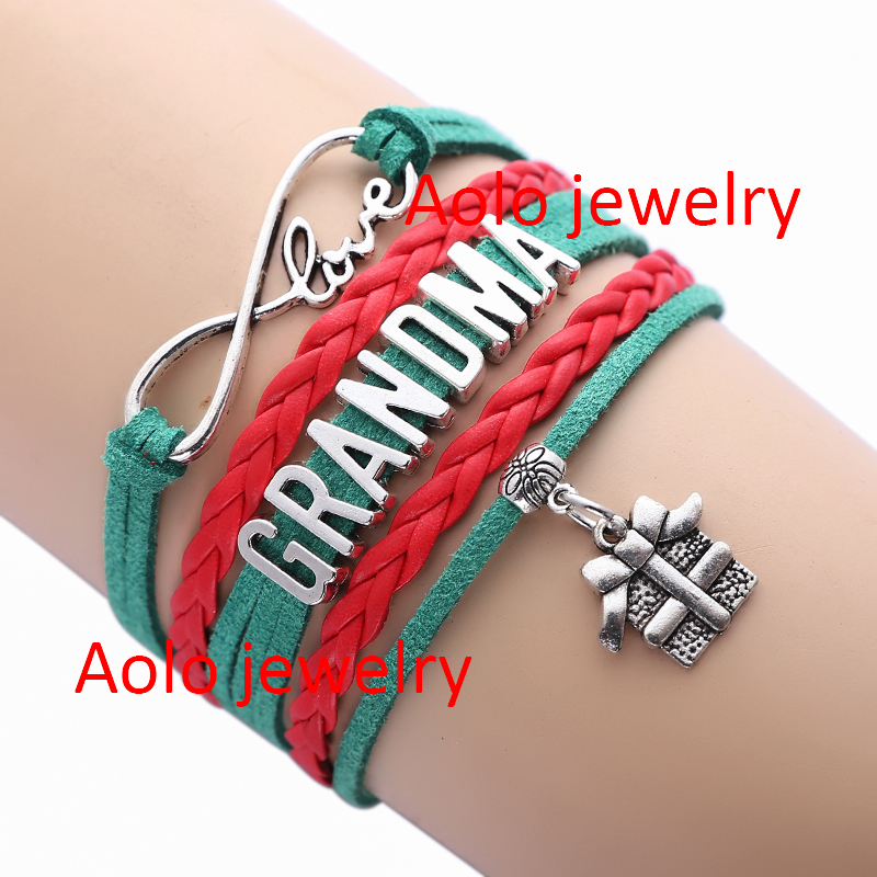 6Pcs/Lot Grandma Christmas Infinity Bracelet Green/red Christmas Gift Girl Jewelry Free Shipping! #1360(China (Mainland))