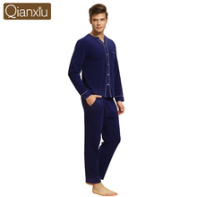 Qianxiu Brand Autumn Long Sleeve Couple Pajamas Sets Sleeping Clothes Pijama Men Sleepwear Pyjama Homme Lounge Shirt & Pant XXL(China (Mainland))