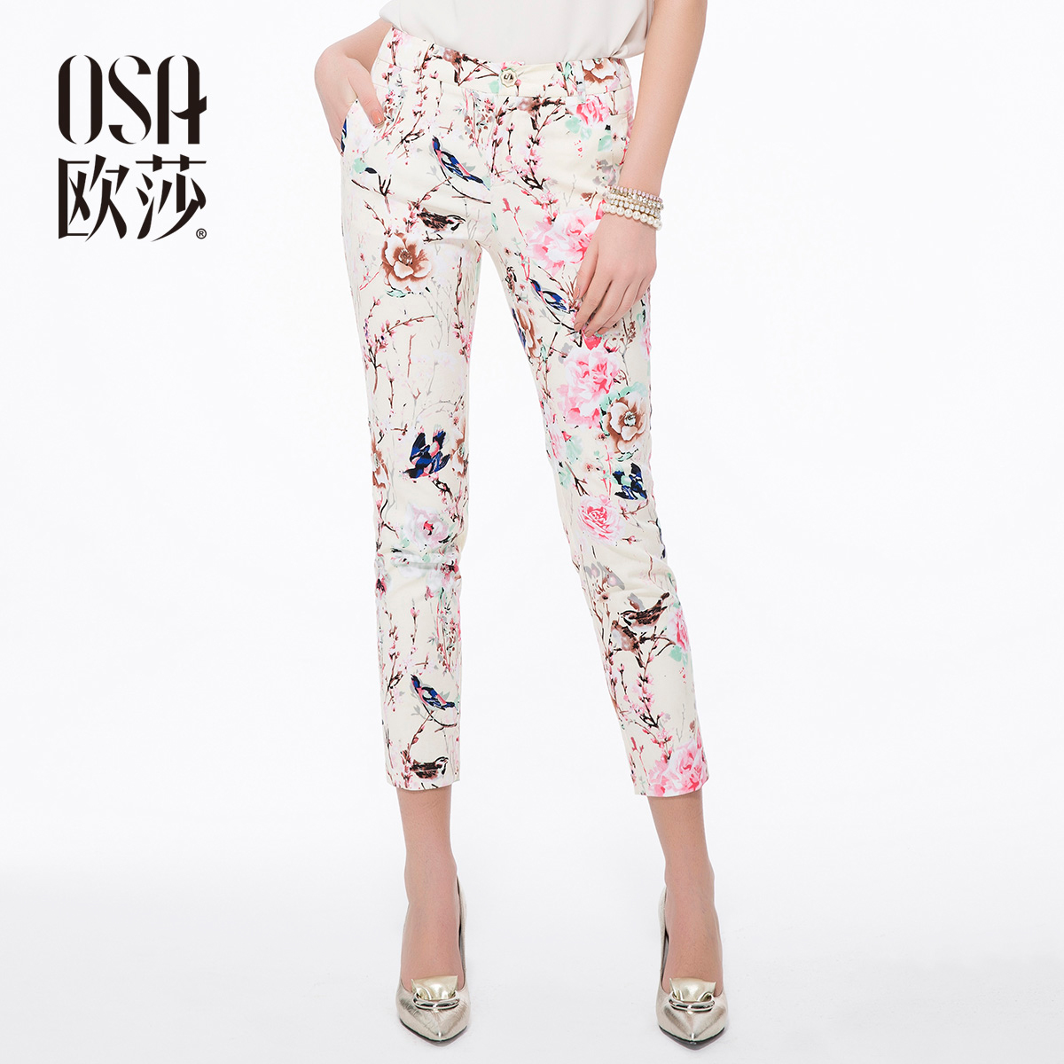 2014 Spring Summer Cotton Floral Print Casual Pencil Pants For Women Ladies Slim Jeans Skinny Straight Pants Capris SK410006(China (Mainland))
