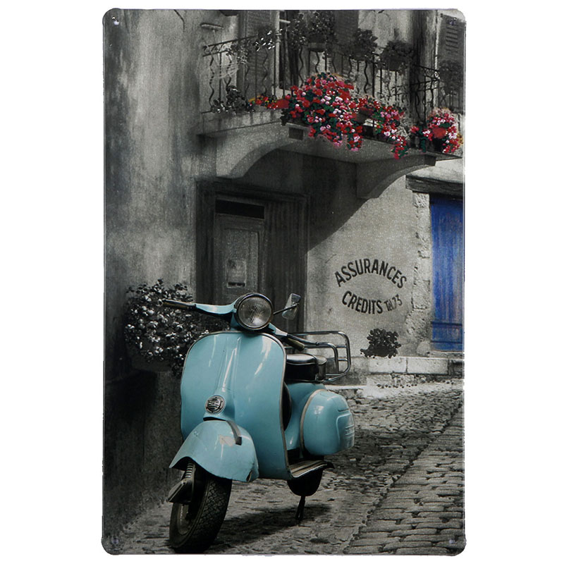 """Sky blue Piaggio Vespa Scooter, Metal Tin Sign, Vintage Style Wall Ornament Decor, Size 7.8"""" X 11.8""""(China (Mainland))"""