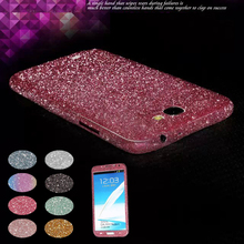 Bling Rhinestone Glitter Skin Full Body Diamond Front&Back Screen Protector Film Decal Sticker For Samsung Galaxy Note 2 N7100(China (Mainland))