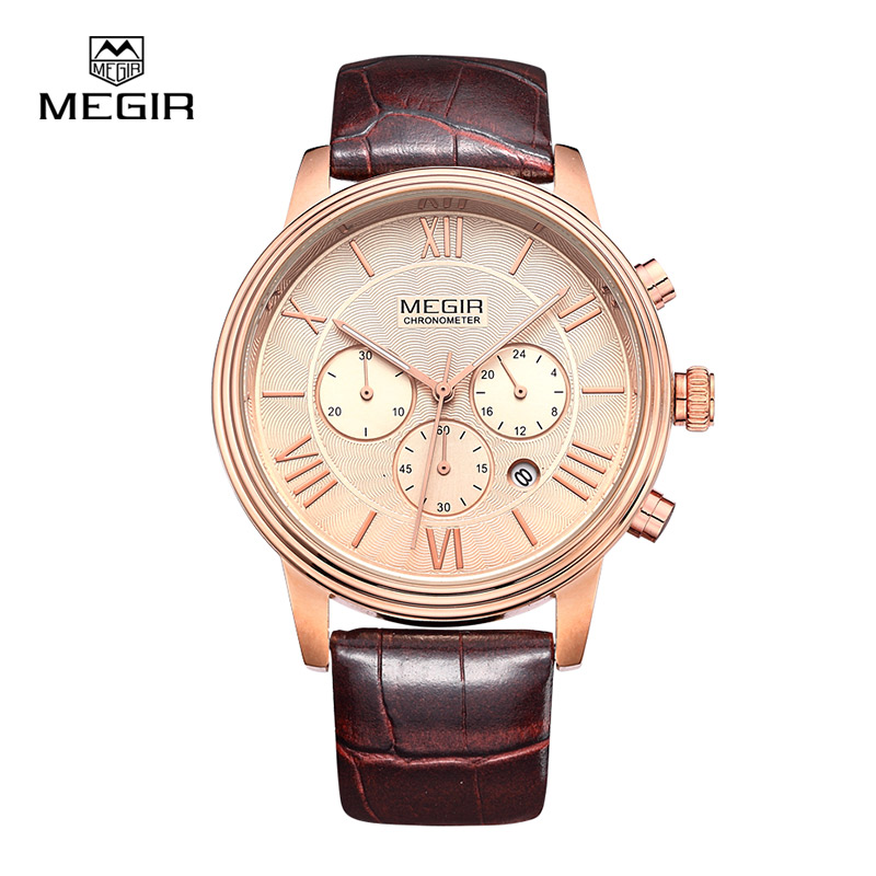 Megir 2012 sports quartz watch men genuine leather multifunctional watches waterproof wristwatch male free shipping(China (Mainland))