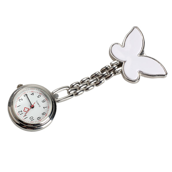 Butterfly Nurse Table Pocket Watch Clip Brooch Chain Quartz Watch Mini New(China (Mainland))