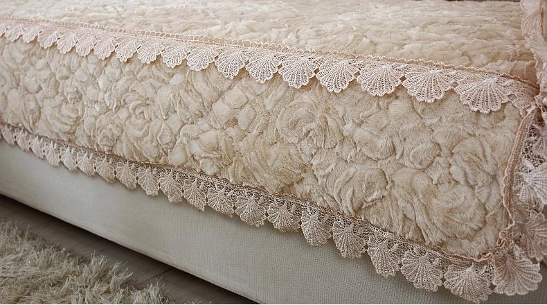 Warm te koop roze fluwelen stof sofa covers/beige decoratieve ...