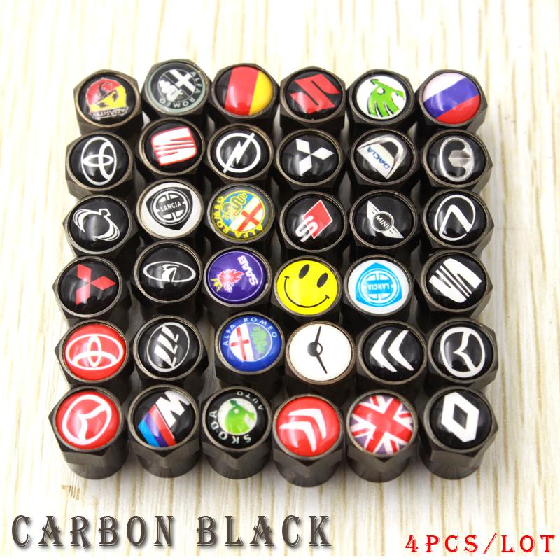 car Carbon black Tire Valve Caps case for Toyota/BMW/Seat/Fiat/Skoda/Renault/Opel/Mazda/Hyundai/lada/suzuki emblem car styling(China (Mainland))