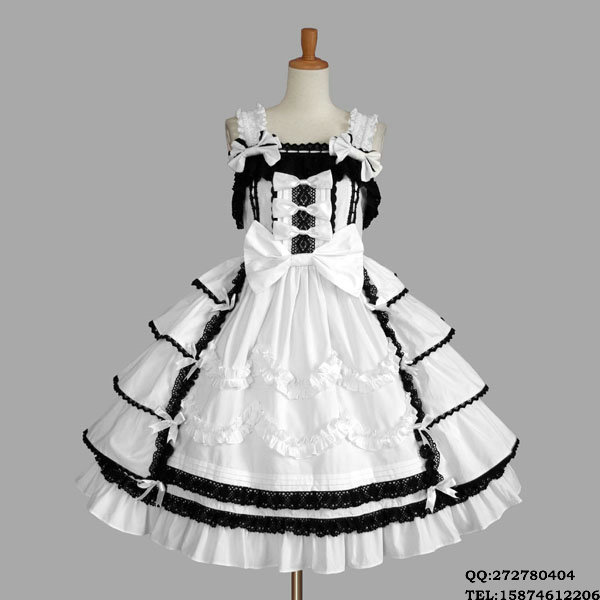 New Black And White Sleeveless Japanese Cosplay Maid Gothic Lolita CostumeОдежда и ак�е��уары<br><br><br>Aliexpress