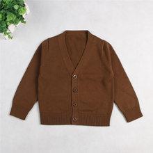 ילדים פעוט בני בנות מעיל מעיל סוודרים סרוגים חולצות לילדים הלבשה עליונה צווארון V קרדיגן תינוק בגדי תינוקות בגדים(China)