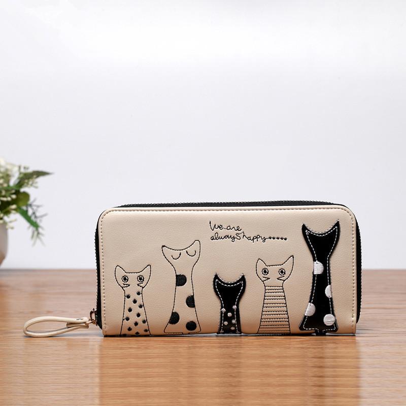 2015 fashion women s wallet burst models Europe and America long wallet female cartoon cat purse