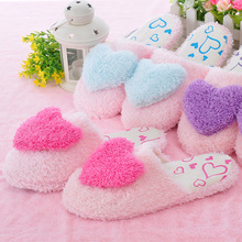Hot sell warm cotto love heart indoor slippers,shoes woman for 2012,3 colors,3 sizes,wholesale,5 pairs/lot(China (Mainland))