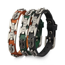 2015 lastest design charm Genuine Leather bracelet men fashion steel bracelets bangles korean jewelry pulseira masculina XNL-13