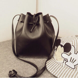 2015 Fashion Black Bucket Bag Small Women Pu Leather Messenger bags Crossbody bags Shoulder bag Purses YA80-5(China (Mainland))