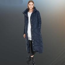 2016 European Women Down Parkas Coats with Hoody X-Long Autumn Winter Warm Overcoats Female Clothing 4XL 5XL VF1076