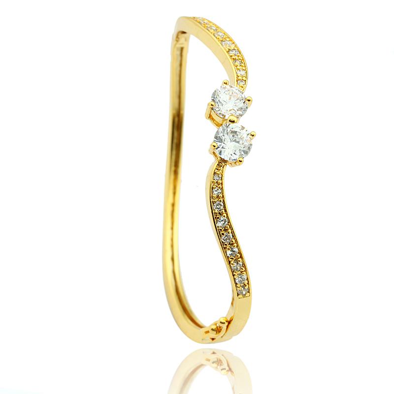 Yellow 18k gold plated fashion flower female Bangle fashion Jewelry gift for girlfriend(China (Mainland))