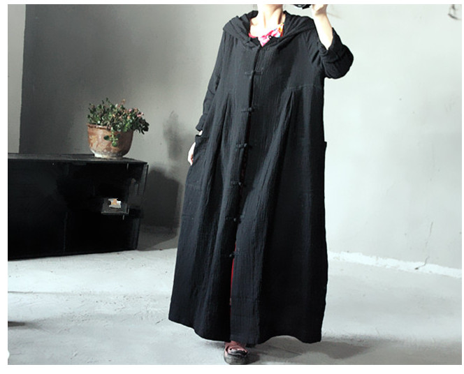 Autumn Dress Plus Size Opne Stitch Loose Waist Solid Color Vintage Dress with Cap One-piece Dress trench full dressОдежда и ак�е��уары<br><br><br>Aliexpress