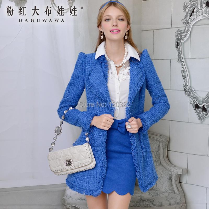 Original New Fashion 2014 Brand Autumn and Winter Woolen Outerwear Navy Blue Slim Vintage Long Coat Down Jacket Women BlazerОдежда и ак�е��уары<br><br><br>Aliexpress