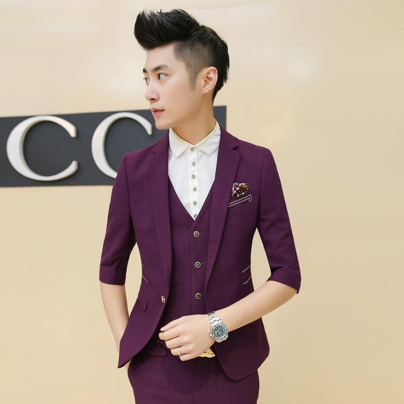 2015 new arrival wedding dress suits 2015 summer new Korean Slim 7 points sleeve suit solid color suits A470-1-TZ14-P278Одежда и ак�е��уары<br><br><br>Aliexpress