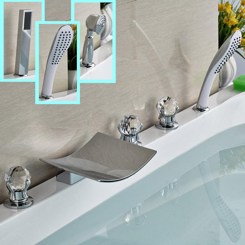 Фотография Polished Chrome 5pcs Tub Faucet Deck Mount Waterfall Brass Bathtub Mixer Taps + ABS Hand Shower