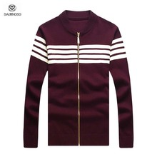 Men Cardigan With Zipper Autumn Brand Knitted Cardigans Mens Outwear V-neck Cardigans Wool Red Men Striped Sweaters Plus Size L (China (Mainland))