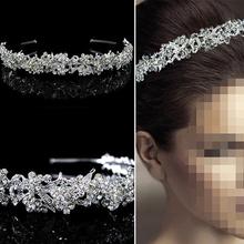 2015 hot sell Girl's Hair Twinkling Full Crystal Flower Leaf Wedding Bridal Tiara Hair Accessories
