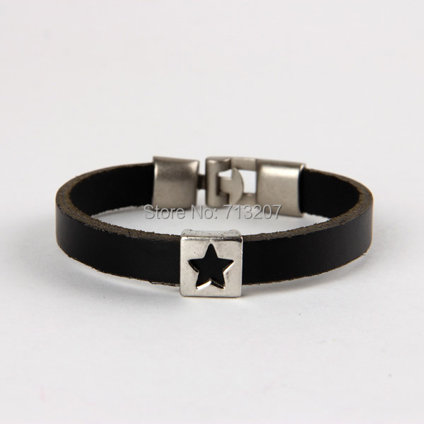 Free shipping!!!Cowhide Bracelet,women fashion, with Zinc Alloy, platinum color plated, adjustable, black, 170-240mm<br>