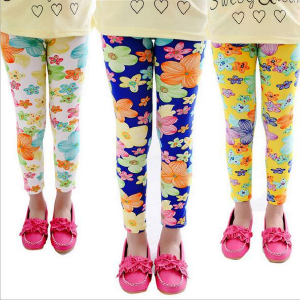 3-9 Y girl leggings long children pants flowers butterfly girl trousers slim princess good quality under girl pants(China (Mainland))
