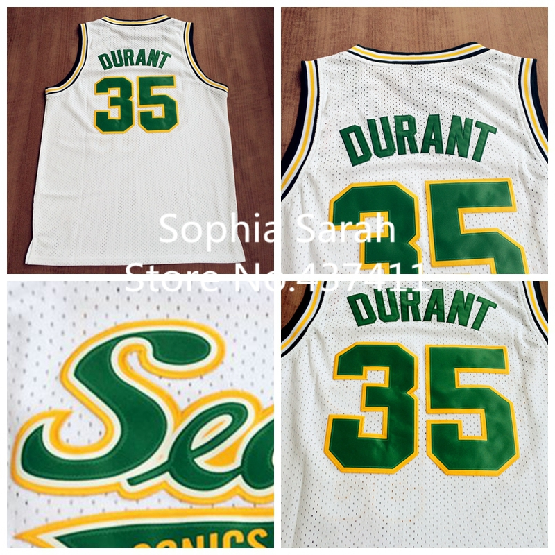 Seattle Supersonics #35 Kevin Durant White Throwback Retro Vintage Basketball jersey,Embroidered Logos,Size:S-XXL,Free Shipping(China (Mainland))