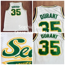 Seattle Supersonics # 35 Kevin Durant blanc Throwback Retro Vintage Basketball jersey, Brodé logos, Taille : s - xxl, Livraison gratuite(China (Mainland))