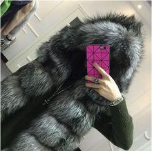2015 winter coat Faux silver fox fur coat hooded vest stripe medium-long vest large size women(China (Mainland))