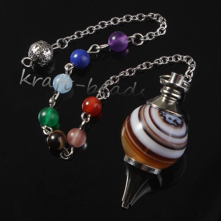 wholesale 10 Pcs Silver Plated 7 Stone Beads Chain Natural Stripe Black Agate Stone Chakra Healing Dowsing Pendulum Jewelry