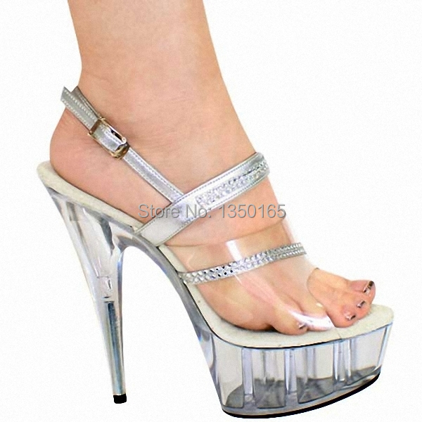 Здесь можно купить  Sexy fashion 15CM Sexy Super High Heel Platforms Pole Dance shoes 6 inch silver Rhinestone Straps party shoes Free Shipping  Обувь