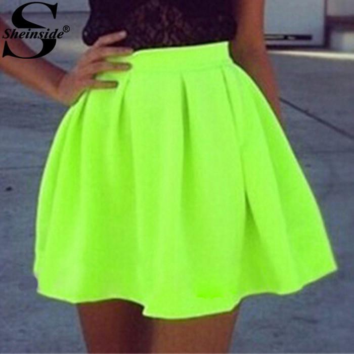 Sheinside Saia Plissada marque 2015 femmes pas cher vente nouveauté Solid Designer jaune néon vert plissée Flare Mini jupe(China (Mainland))