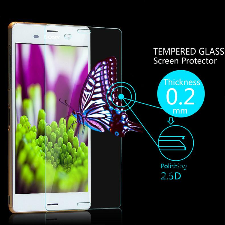 UltraThin 0.2mm Premium Explosion-Proof HD Clear Tempered Glass Screen Protector Film for Sony Xperia Z3 L55 With Retail Package(China (Mainland))