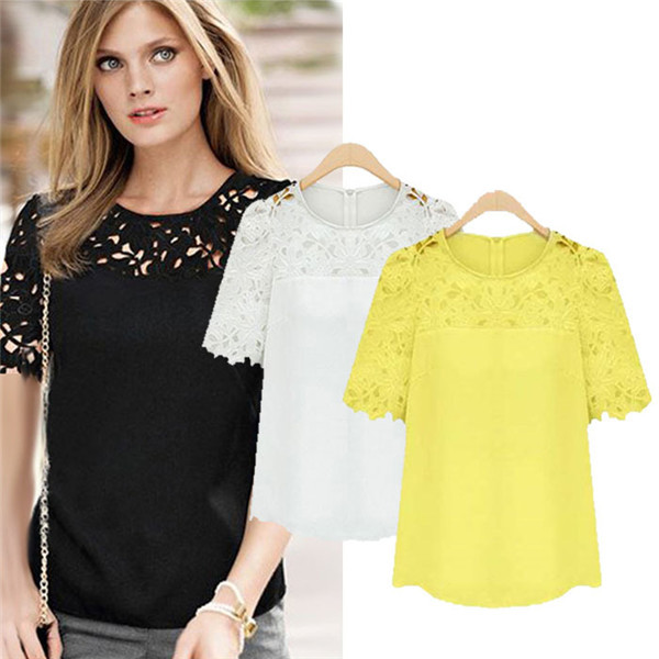 New Brand Casual Hollow Out Lace Chiffon Women Blouse Crochet Blusas