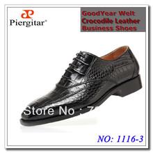 Free shipping Hand stitching Luxury crocodile leather business dress boss shoes black size 39-44(China (Mainland))
