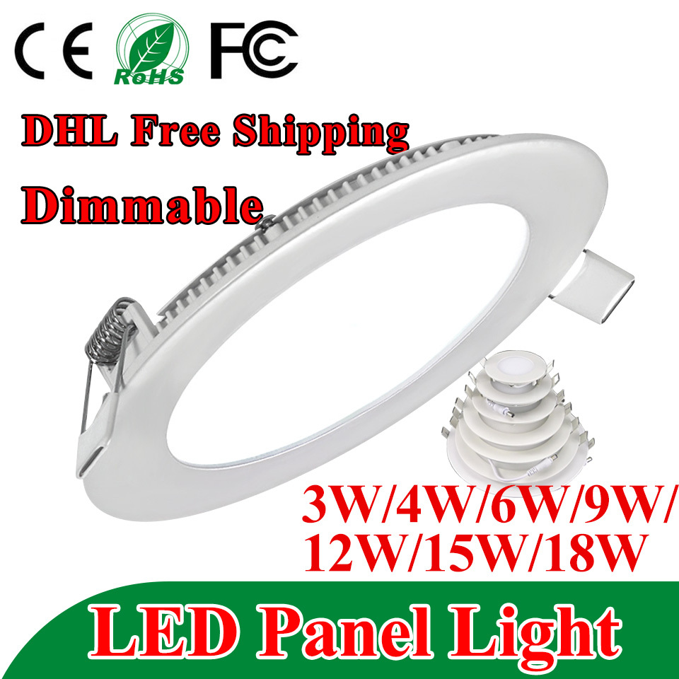 Ultra Thin Dimmable Led Panel Downlight 3w 4w 6w 9w 12w 15w 18w Round Ceiling Recessed Spot Light AC85-265V Painel lamp CE UL(China (Mainland))