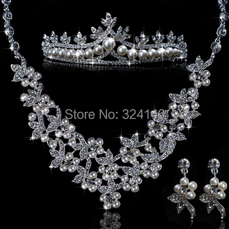 2016 Nice ivory Pearl wedding Jewelry Sets for brides Silver elegantNecklace+Natural+Crown Wedding Jewelry Sets wholesale