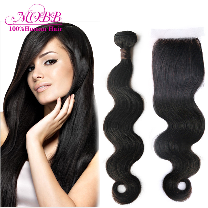 Free shipping Queen hair products 4 pcs lot Brazilian Body wave hair weave bundles with middle part lace closure <br><br>Aliexpress