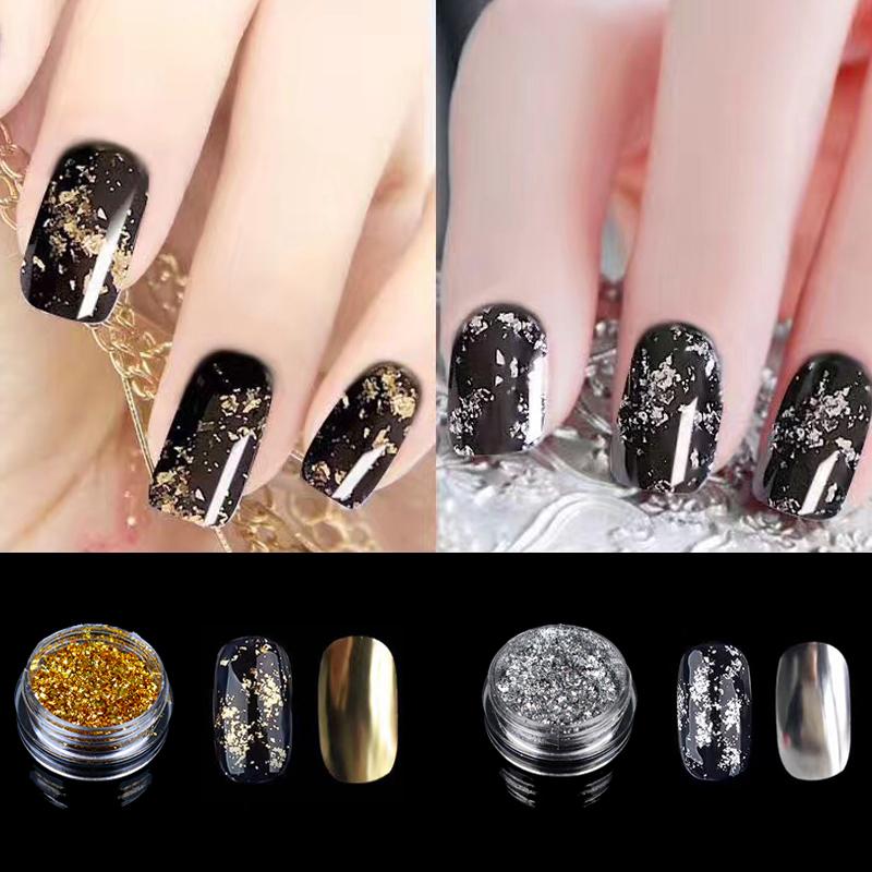 LCJ Gold Silver Optional Flakes Nail Sequins 0.2g Bling Mirror Nail Glitter Powder Paillette DIY Nail Art Decoration Glitters