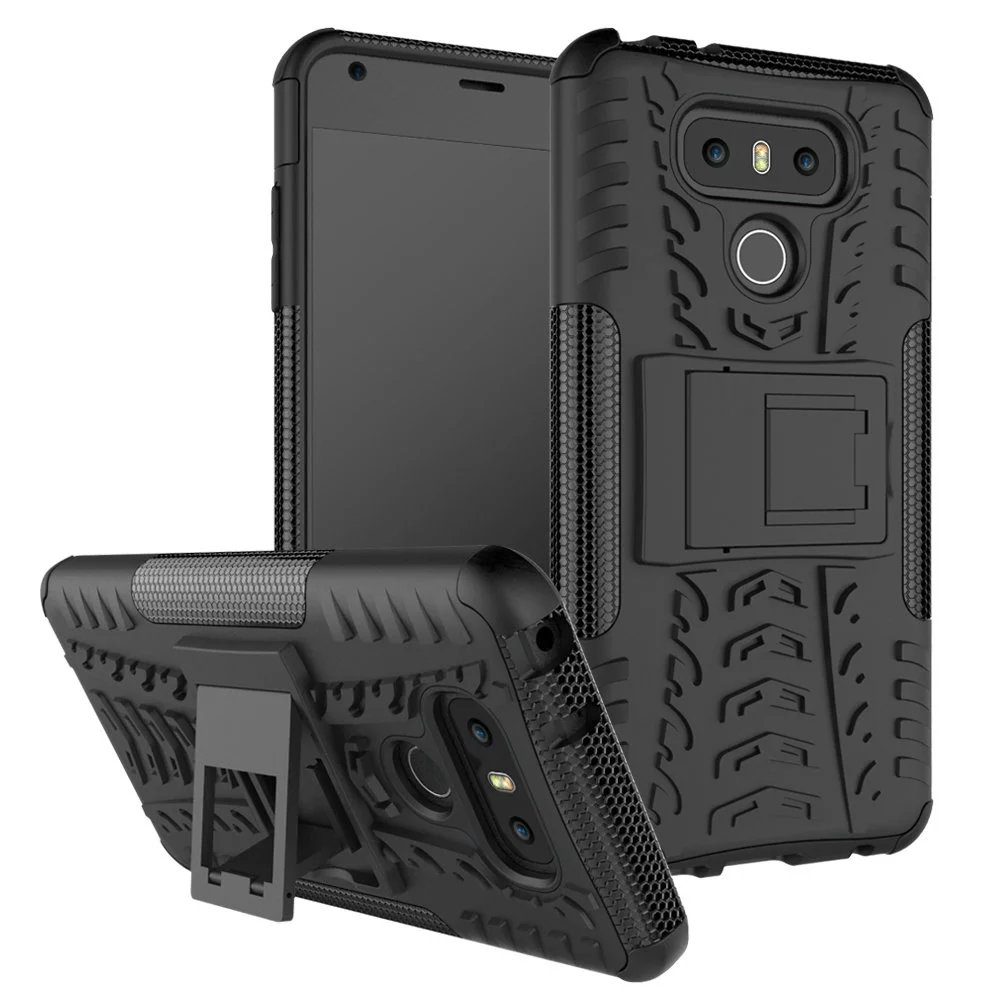Case LG G6 PC+Soft TPU Silicone Tyre Heavy Duty Armor Impact Shockproof Hard Case Stand LG G 6 Cover 5.7inch