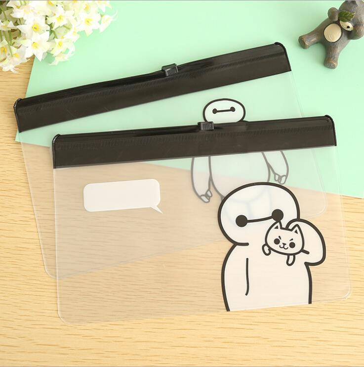 2015 Hot Sale New Cute Cartoon Transparent Portable Pen Pencil Makeup Cosmetic Bag Case Pocket Pounch(China (Mainland))