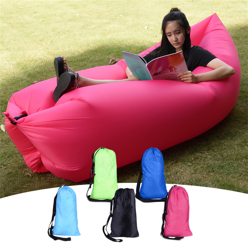 Camping Bed Outdoor Indoor Sleeping Bags Leisure Banana Fast Inflatable Air Sofa Couch Lounger Hangout beach Lounge Oxford cloth(China (Mainland))