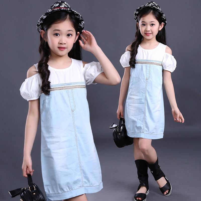 Toddler Girl Denim Fancy Dress Baby Girl Patchwork Princess Dress Novelty Off Shoulder Patchwork Denim Dress Vestido(China (Mainland))