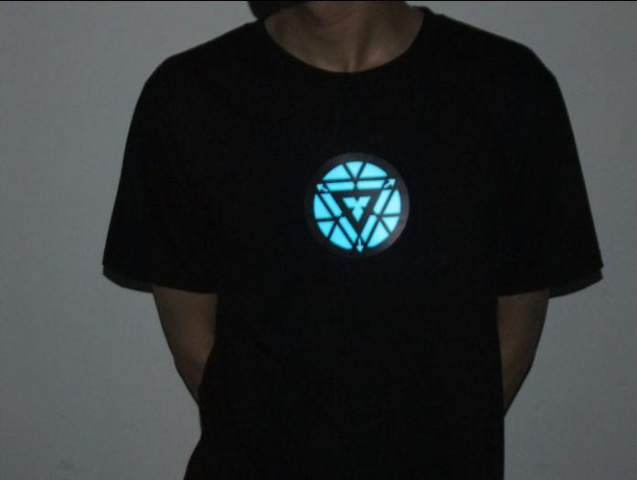 free shipping iron man 3 t shirt led t shirts light up led