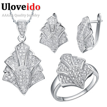 Silver Jewelry Sets New 2015 Micro Pave Zircon Simulated Diamonds Jewelry Crystal Ring Pendant Earrings Sets for Women T049