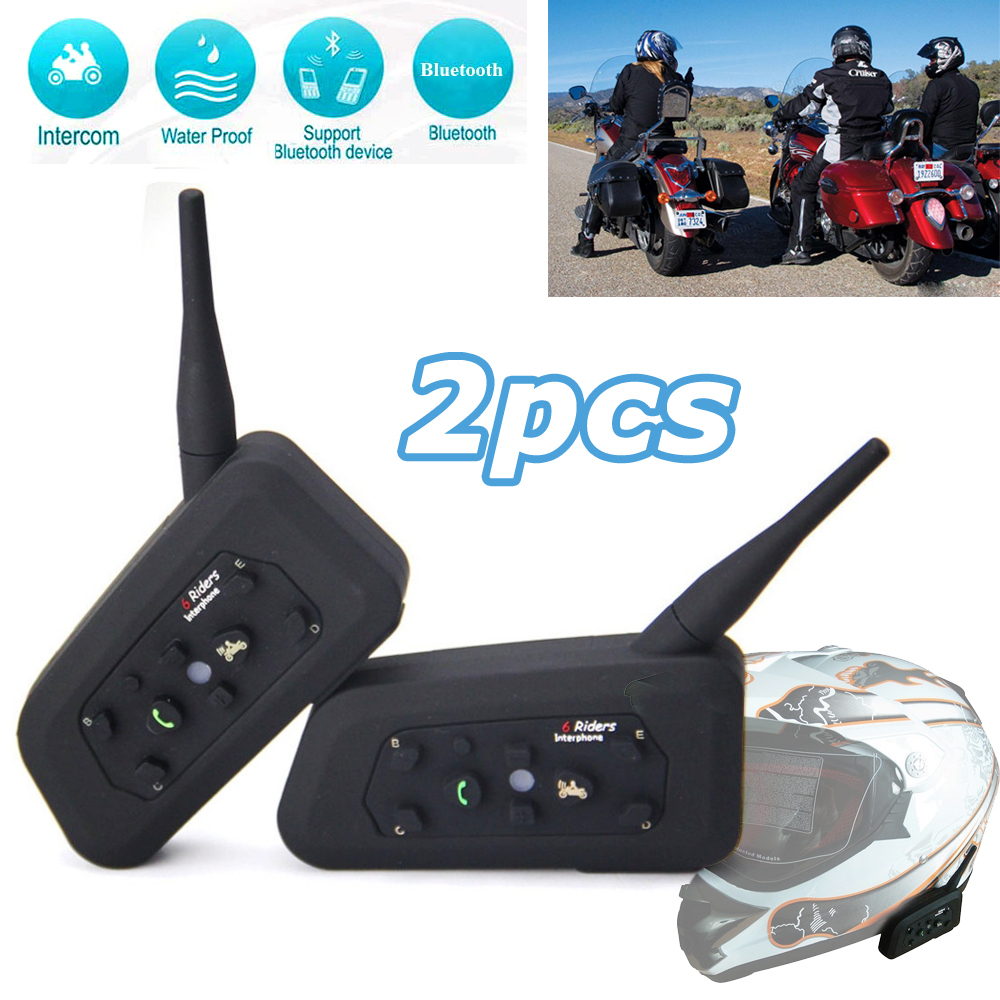 2 x BT Bluetooth Motorcycle Helmet Interphone Intercom Headset Helmet Headset 6 Riders 1200M