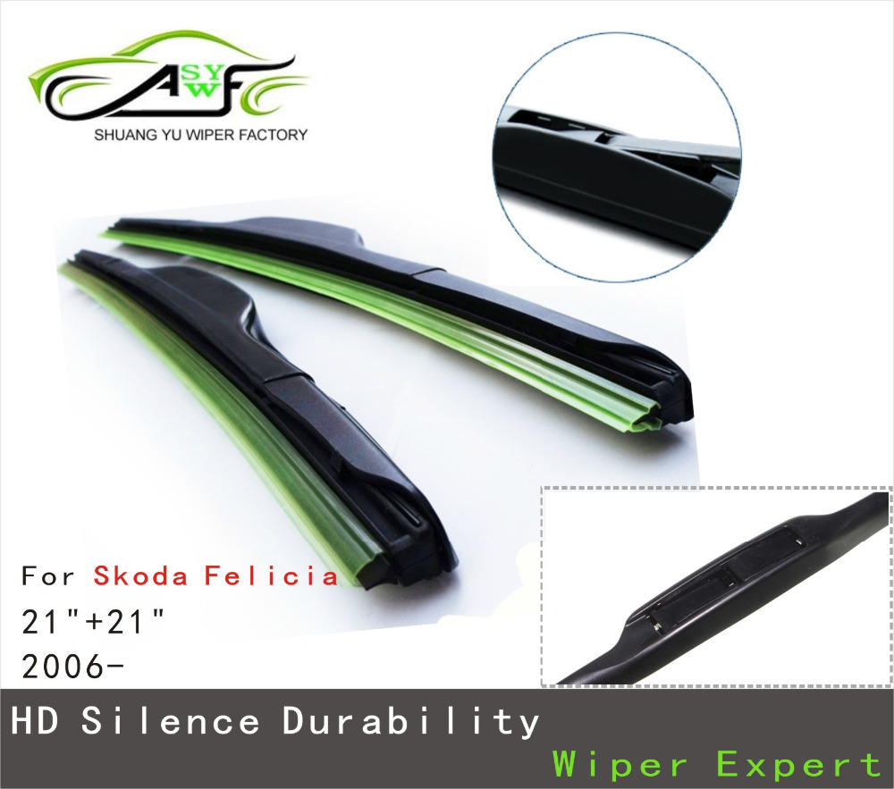 Car Wiper Blade for Skoda Felicia, 21+21inch soft rubber Auto part windscreen wiper blades Car accessories Free Shipping 1Pair<br><br>Aliexpress