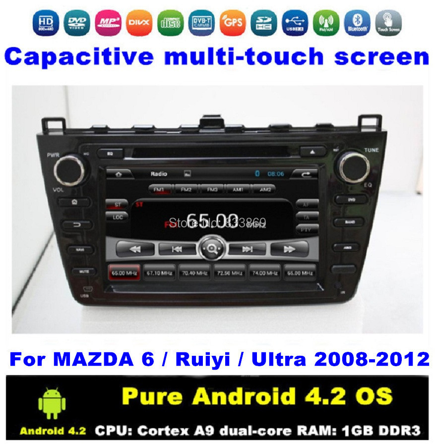 "Black Android 4.2 HD 2 din 8"" Car DVD Player for MAZDA 6 / Ruiyi /Ultra 2008-2012 With GPS 3G/WIFI BT IPOD TV Audio Radio AUX IN(China (Mainland))"