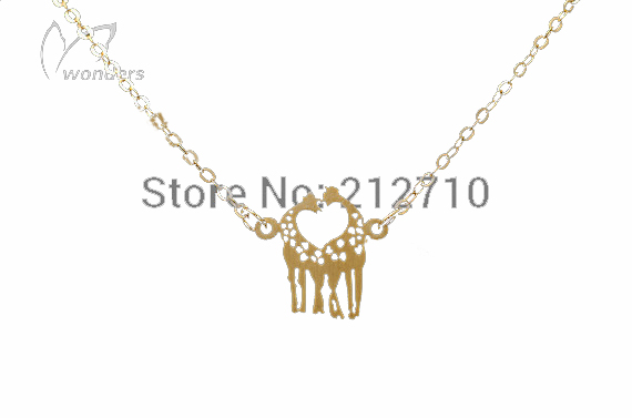 Loving Gife Giraffe Necklace Pendant In The Form Of Heart Chain Simple 18k Gold I LoveYou Jewelry Animal Choker Hot Sell(China (Mainland))