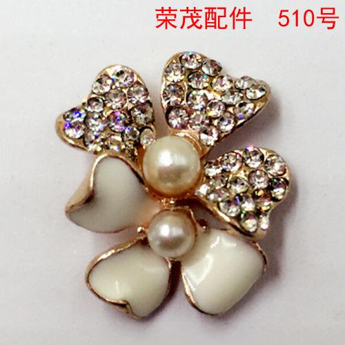 Rhinestone button Hair ornaments pearl white clover pendant enamel button DIY zinc alloy metal accessories handmade disk buckle()